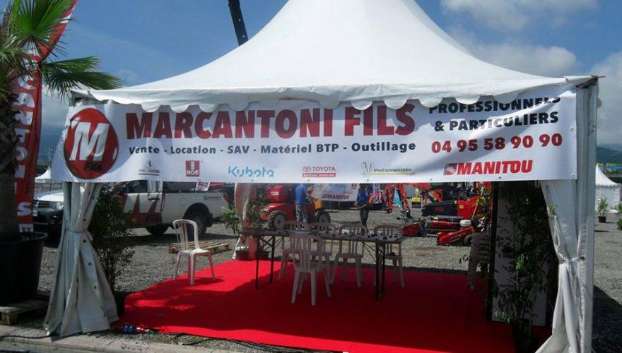 Banderole pour les ETS MARCANTONI Borgo/Ajaccio à l'occasion du salon TurboExpo de Bastia. Une réalisation PANO/Corse Régipub Bastia