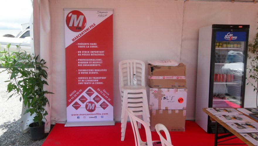 Roll-up pour les ETS MARCANTONI Borgo/Ajaccio à l'occasion du salon TurboExpo de Bastia. Une réalisation PANO/Corse Régipub Bastia