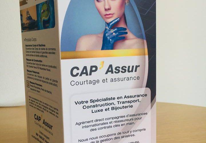 Réalisation dépliant 3 volets déplié en A4 350g pour CAP'ASSUR Bastia