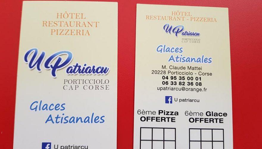 Réalisation de cartes de visites pour l'hôtel-restaurant U Patriarcu à Porticciolo par l'équipe PANO/Corse Régipub Biguglia