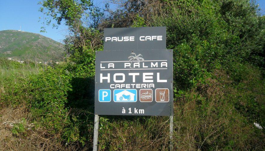 Pré enseigne hôtel la Palma à Patrimonio ( Corse)