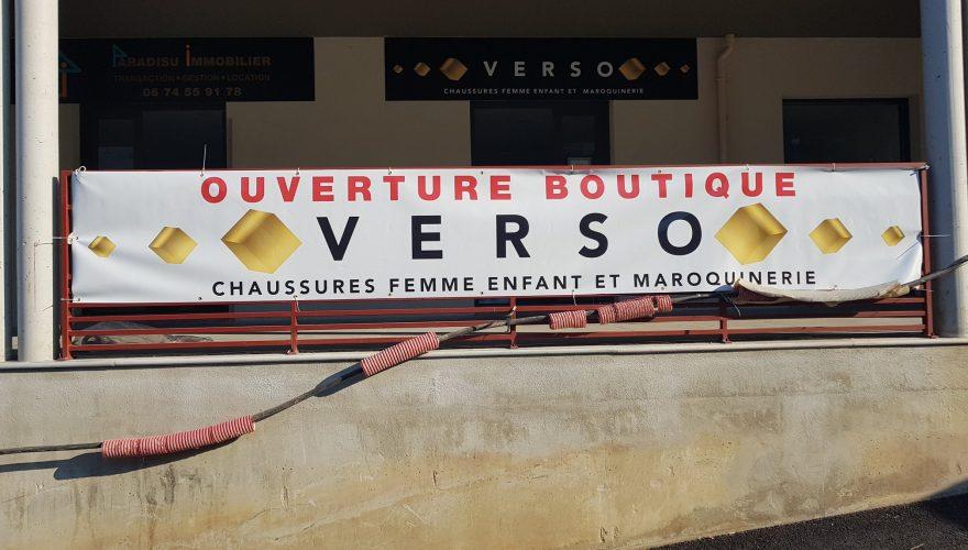 Réalisation - de 24h banderole pour Verso Btque Ile Rousse par l'équipe de l'agence PANO Biguglia! Commandez vos banderoles chez PANO!!!! 04 95 32 11 11