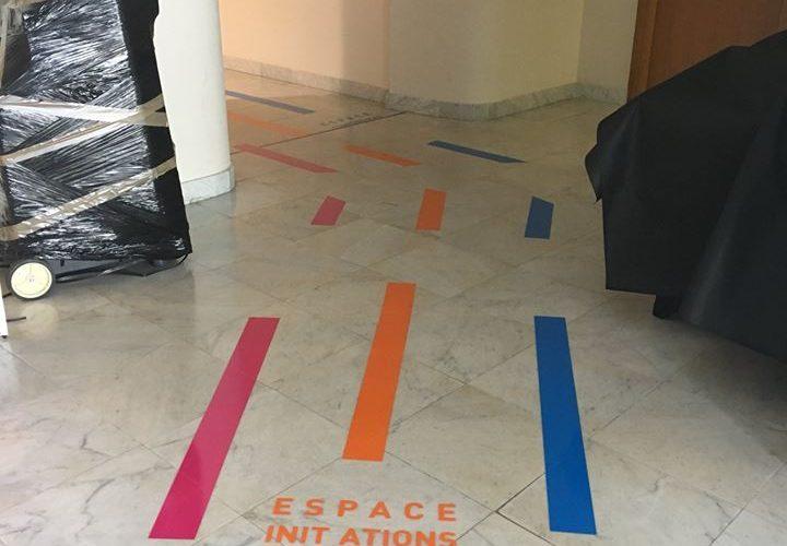 Marquage sol adhésifs à l'occasion du salon numérique de Bastia Corse par l'équipe PANO Bastia