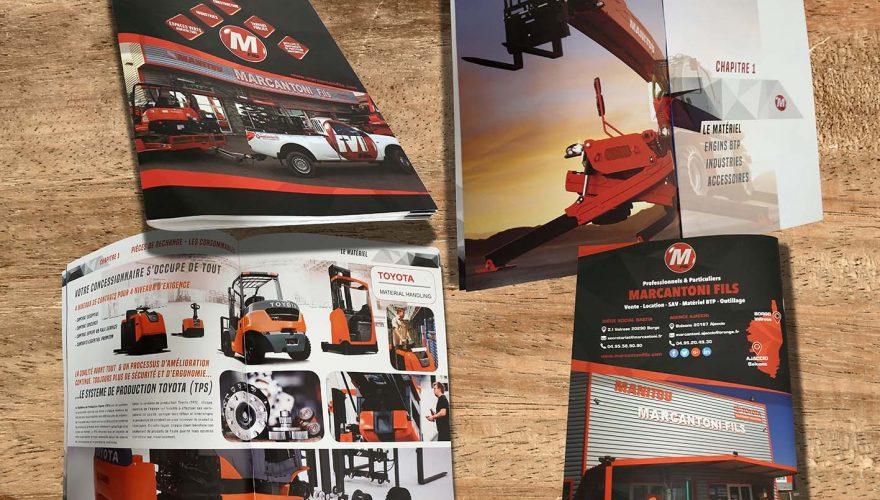 Impression,création et réalisation d'un catalogue sur mesure de 84 pages pour l'entreprise Marcantoni &fils Borgo/Ajaccio par l'équipe PANO Bastia